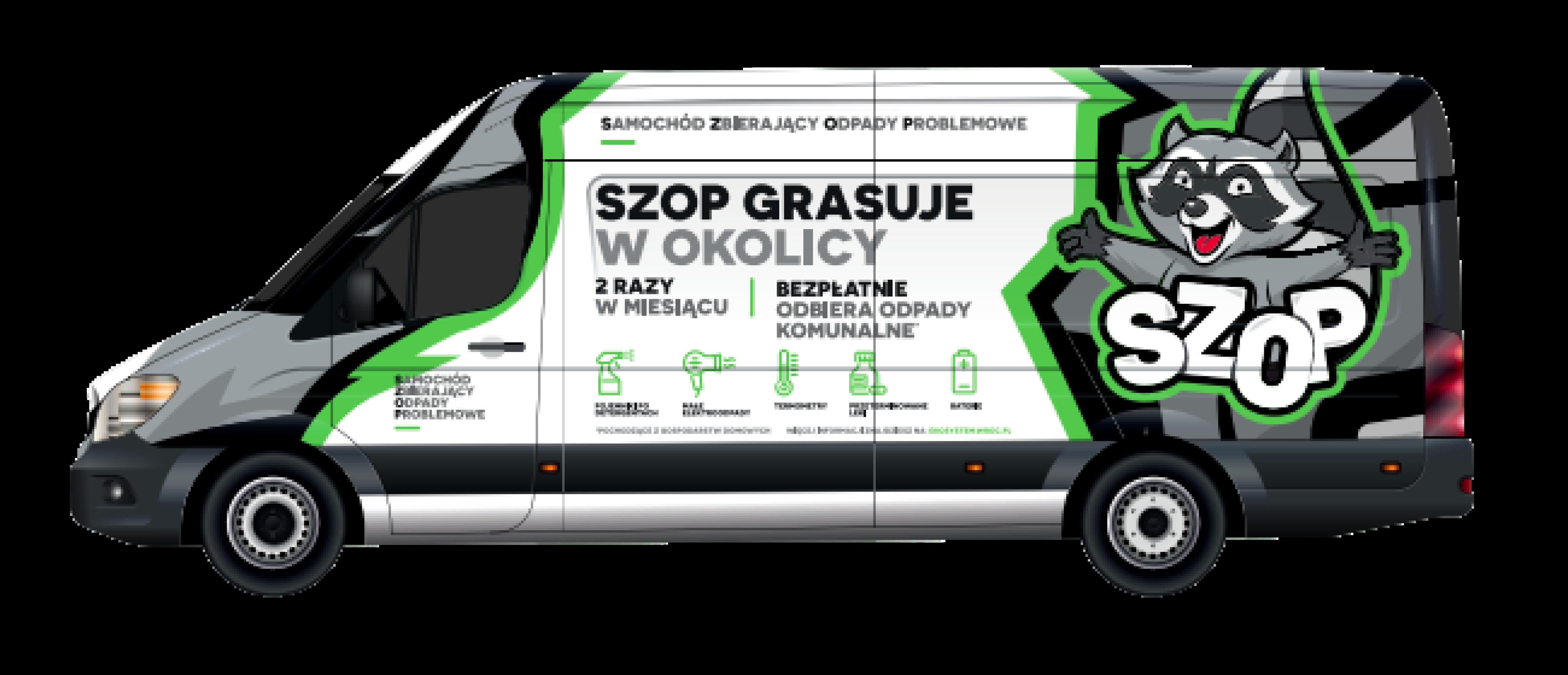 """Samochód SZOP. Duży bus z rysunkowym wizerunkiem szopa z napisem """"szop grasuje w twojej okolicy"""""""